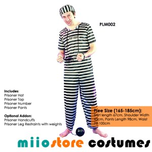 miiostore's Male Prisoner Jailbird Costume - miiostore Costumes Singapore - Affordable Costume Rentals