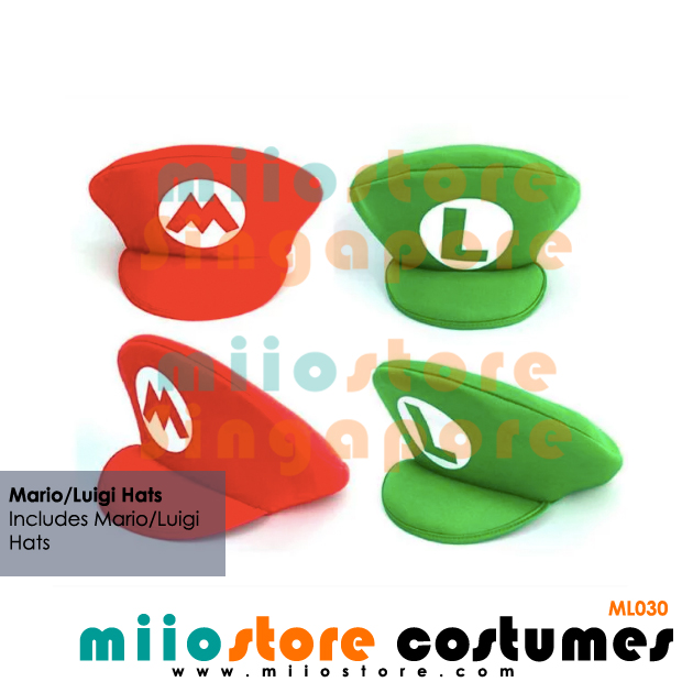Mario and Luigi Hats - miiostore Costumes Singapore - ML030