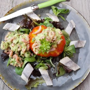 coeur de boeuf | garnaaltjes | avocado | haring | basilicum | jonge sla