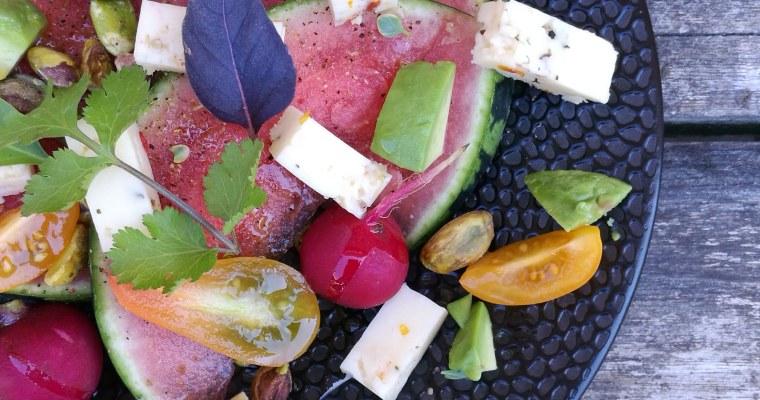 baby watermeloen met Italiaanse kaas en avocado