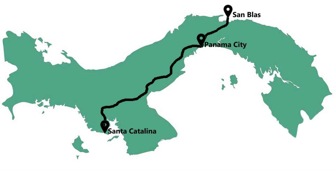 Reisroute in Panama