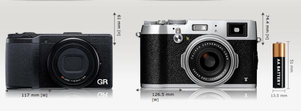 Ricoh GR vs Fuji X100(Bilde: camerasize.com)