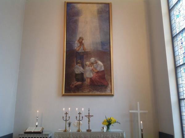 Kyljävä Simpeleen kirkon alttaritaulussa