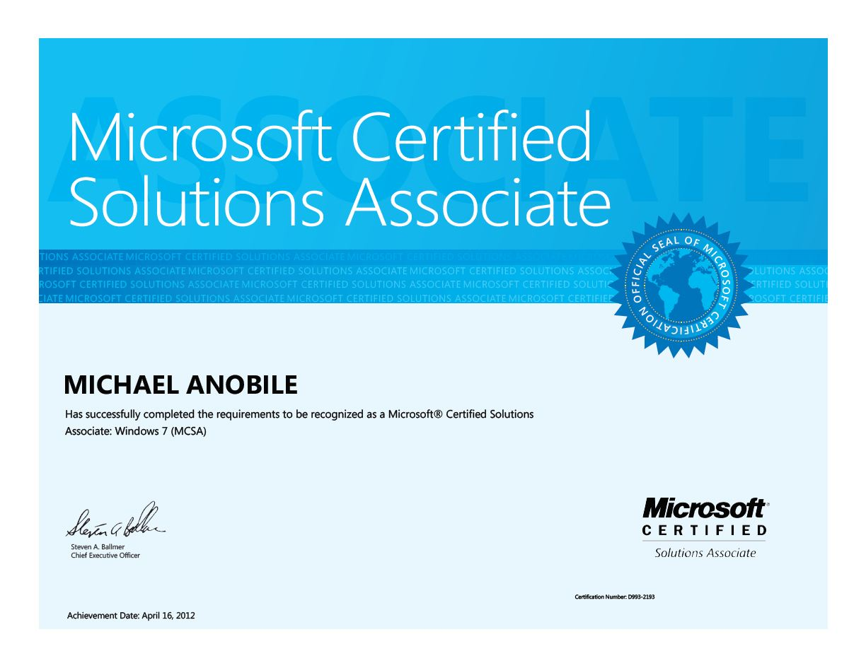 New Certification Mcsa Windows 7 Mikes Blog