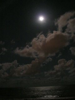 The moon over the Atlantic Ocean
