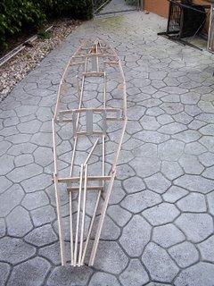 Assembled boat frame.
