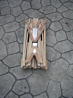 The boat frame folded up