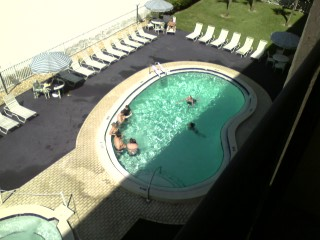 Some of her family playing in the pool.