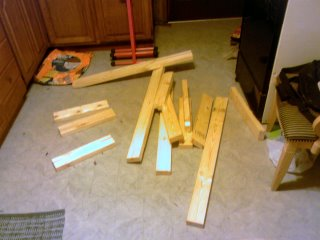 cutting wooden pieces for the electronics hutch base