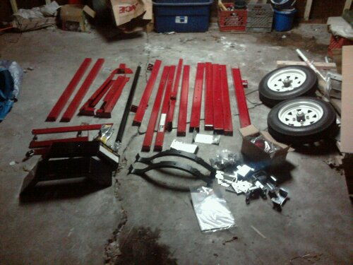 The trailer kit layed out on my garage floor.