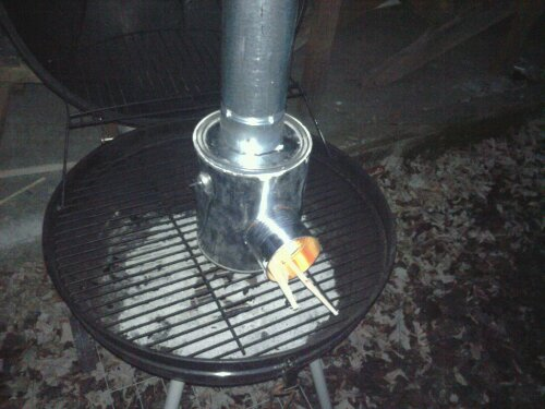 The safest place to test the Pocket Rocket heater is on my grill.