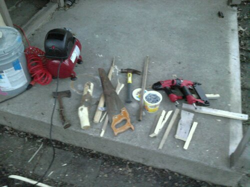 Hatchet and mallet, hammer and saw, air nailers and compressor. The whole gamut of tool tech!