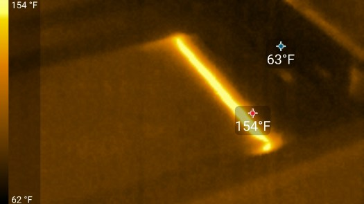 Deep Infrared thermal image of laser cutting fabric