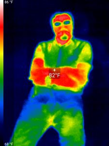 You can see here that I glow. My clothes hold in some of my heat and my glasses block the Deep Infrared light.