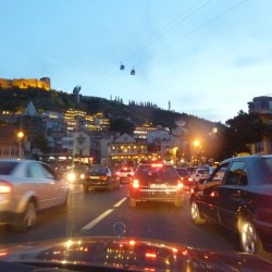 In a taxi going rushing through Tbilisi old town