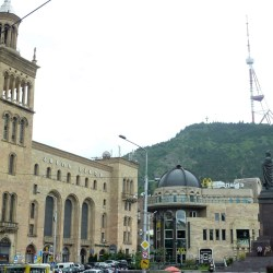 Just 2 minutes from our hostel, Mcdonald's grand building neighbours with Stalinist academy of science building