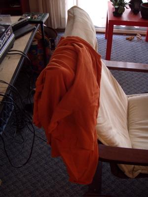 The orange tee shirt