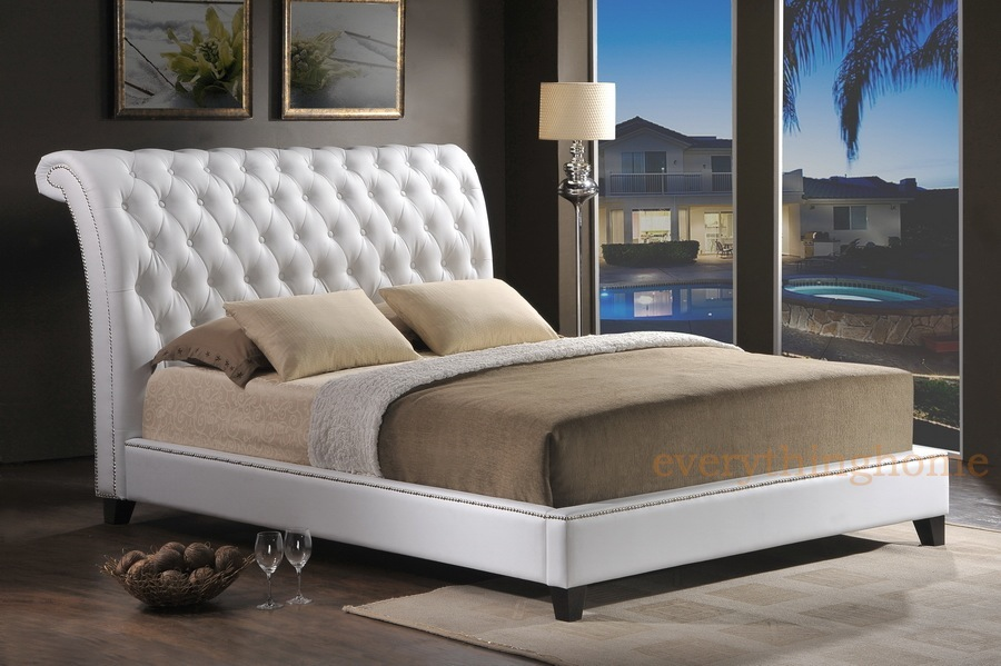 WHITE FAUX LEATHER TUFTED QUEEN KING BED FRAME SCROLL SLEIGH HEADBOARD NAIL HEAD EBay