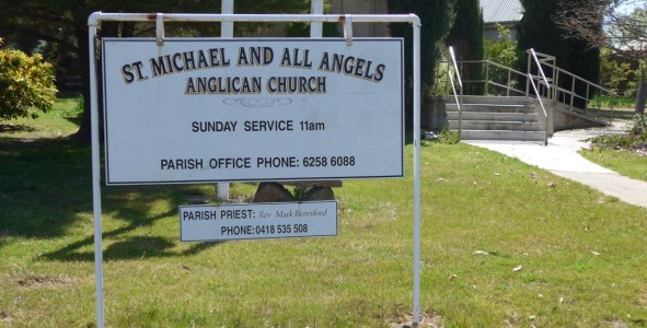 Image of St Michael and All the Angels Hall, ACT Front Sign Church