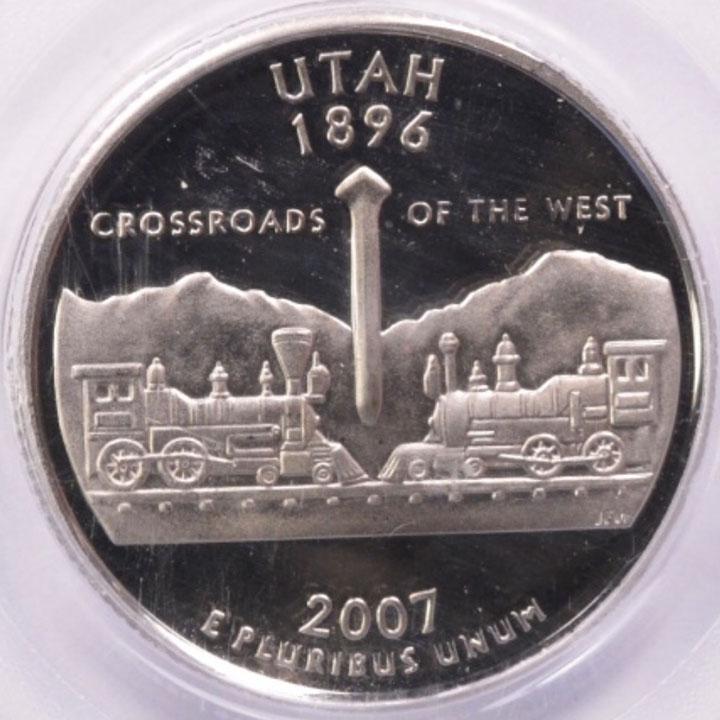 2007 S Utah State Quarter Mis Fed Planchet High Fin Rim Pcgs Pr 69 Dcam Unique
