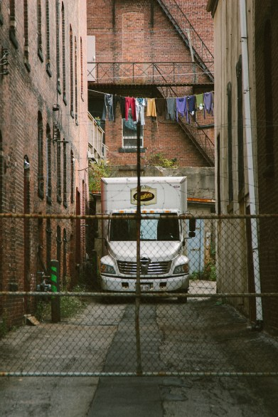 A line of clothing hangs in the Bustin's alleyway on Grannan Street Saint John