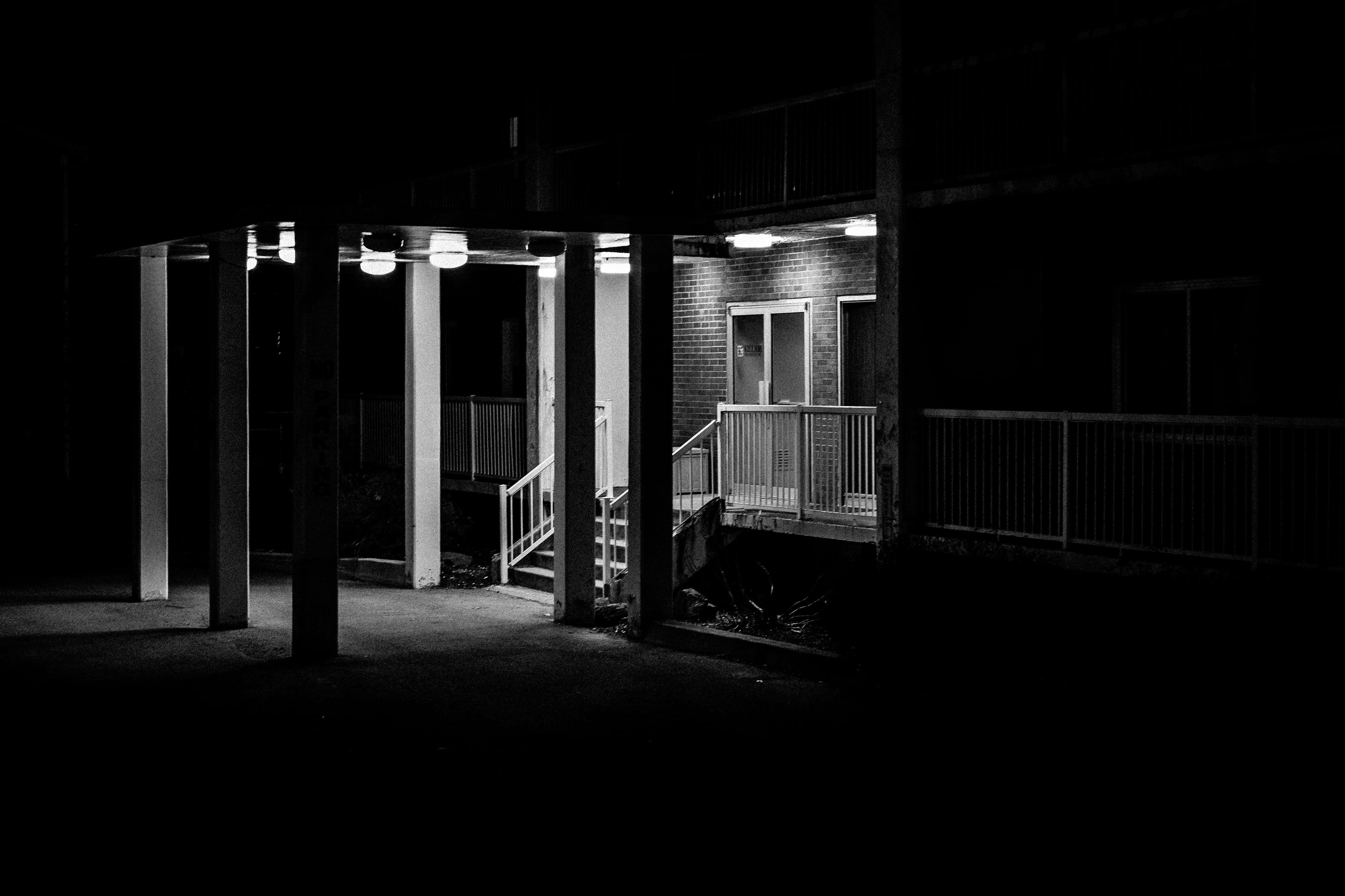 A photograph depicting Apartment Entrance on Charlotte Street Saint John Bw