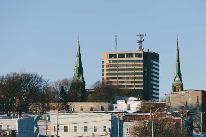 Bell Aliant Building Between Two Church Steeples Saint John Photograph