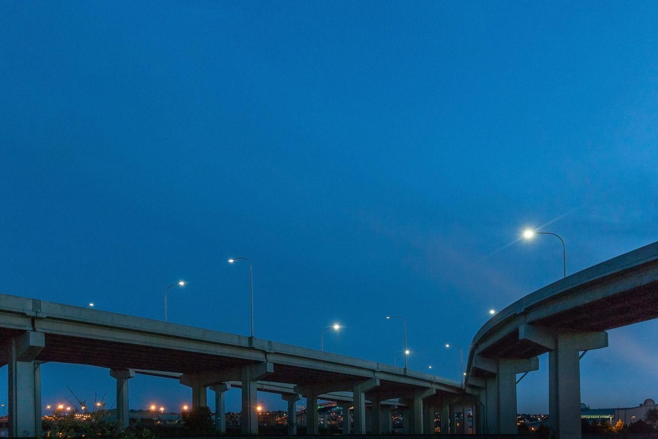 Click thumbnail to see details about photo - Saint John Harbour Bridge at Night Photograph
