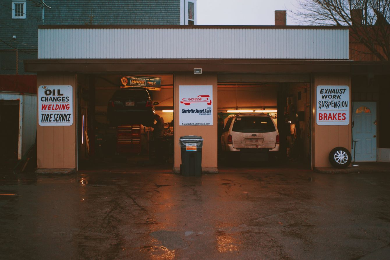 Click thumbnail to see details about photo - Charlotte Street Auto Garage at Dusk Photograph