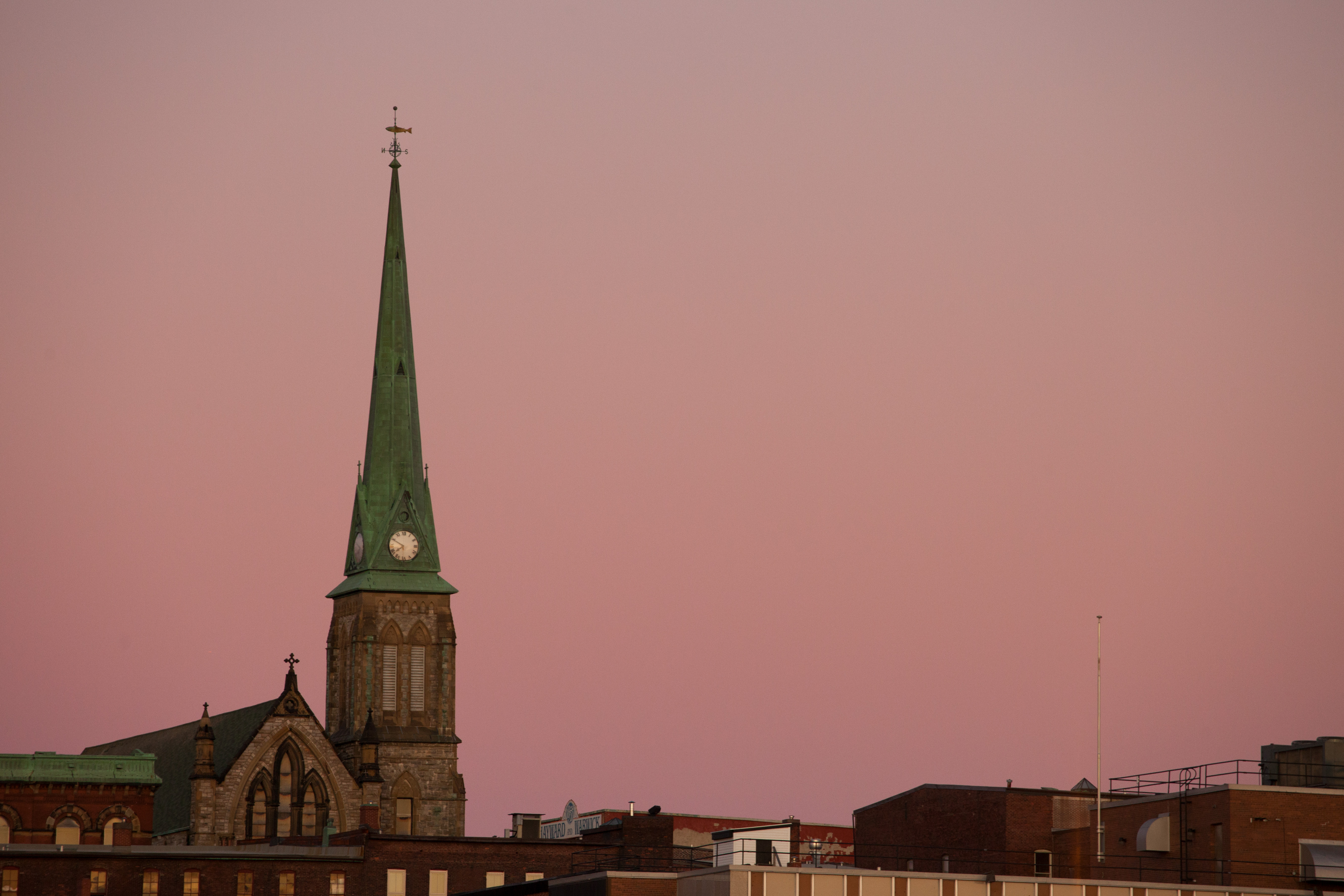 A photograph depicting Church Steeple Wide