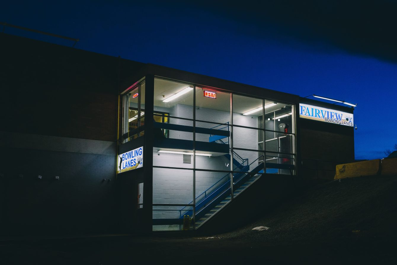 Click thumbnail to see details about photo - Fairview Bowling Lanes Entrance at Night Photograph