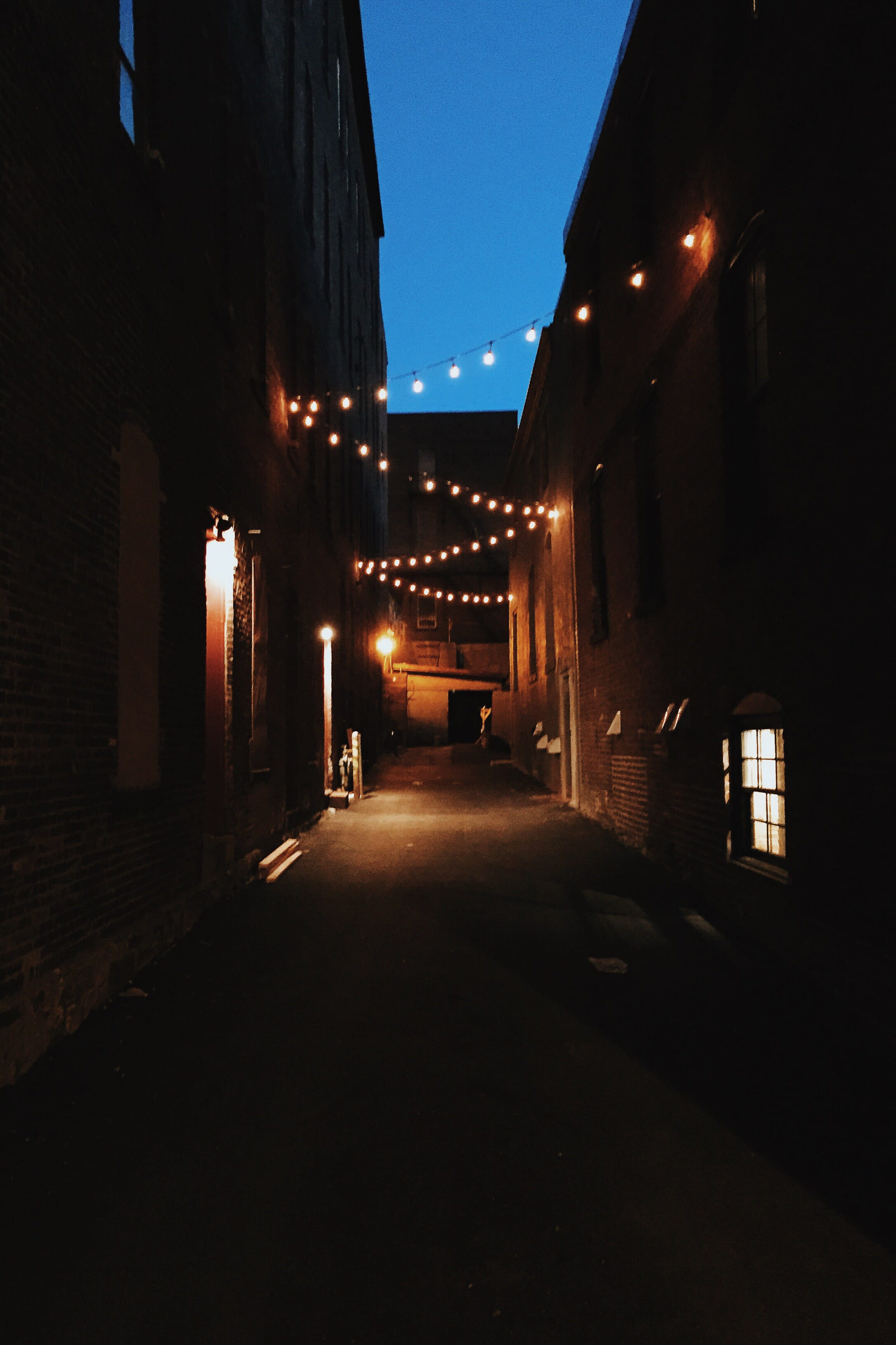 A photograph depicting Grannan Street Alleyway Rope Lights at Night