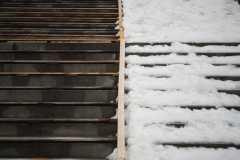 Half and Half Snowy Steps Saint John Highschool Photograph