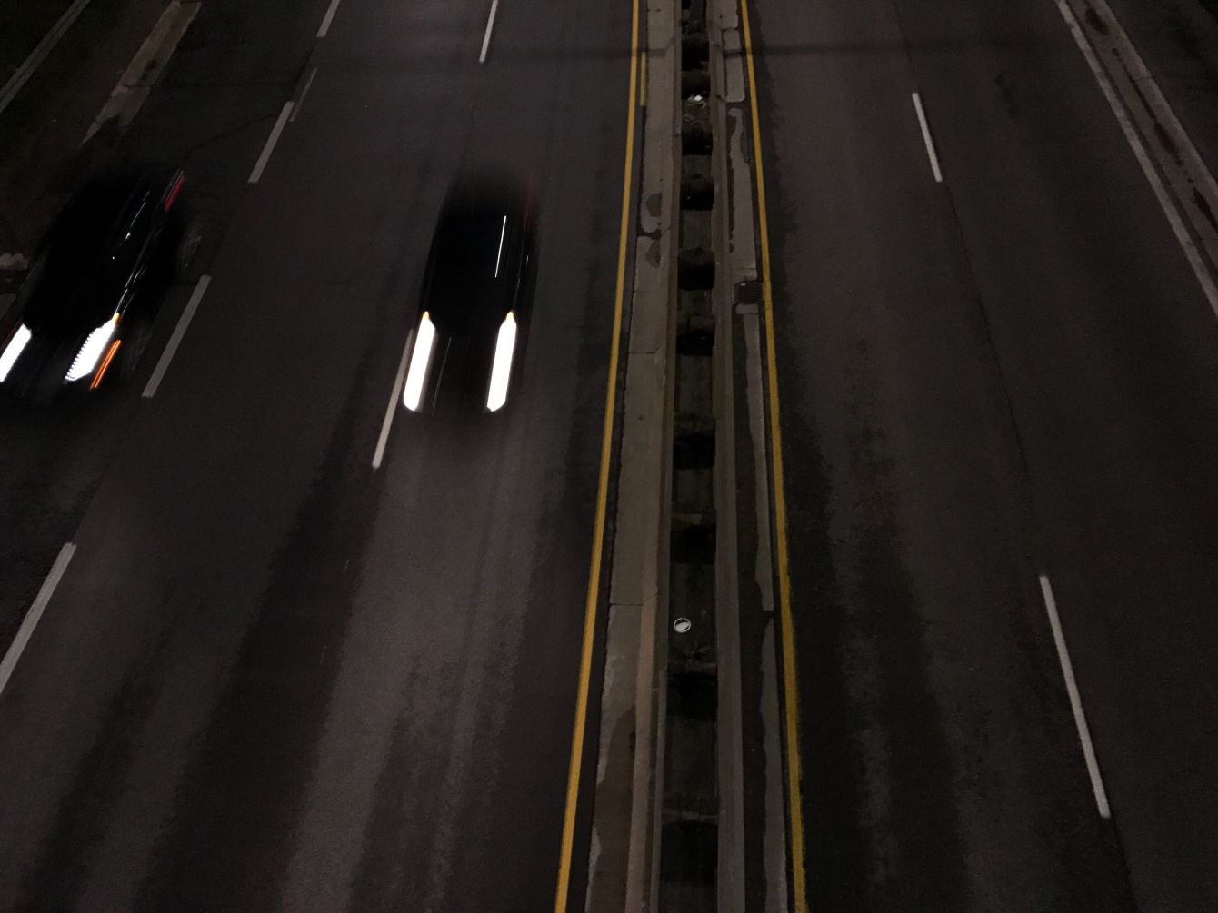Click thumbnail to see details about photo - Looking Down Overpass at Night Photograph