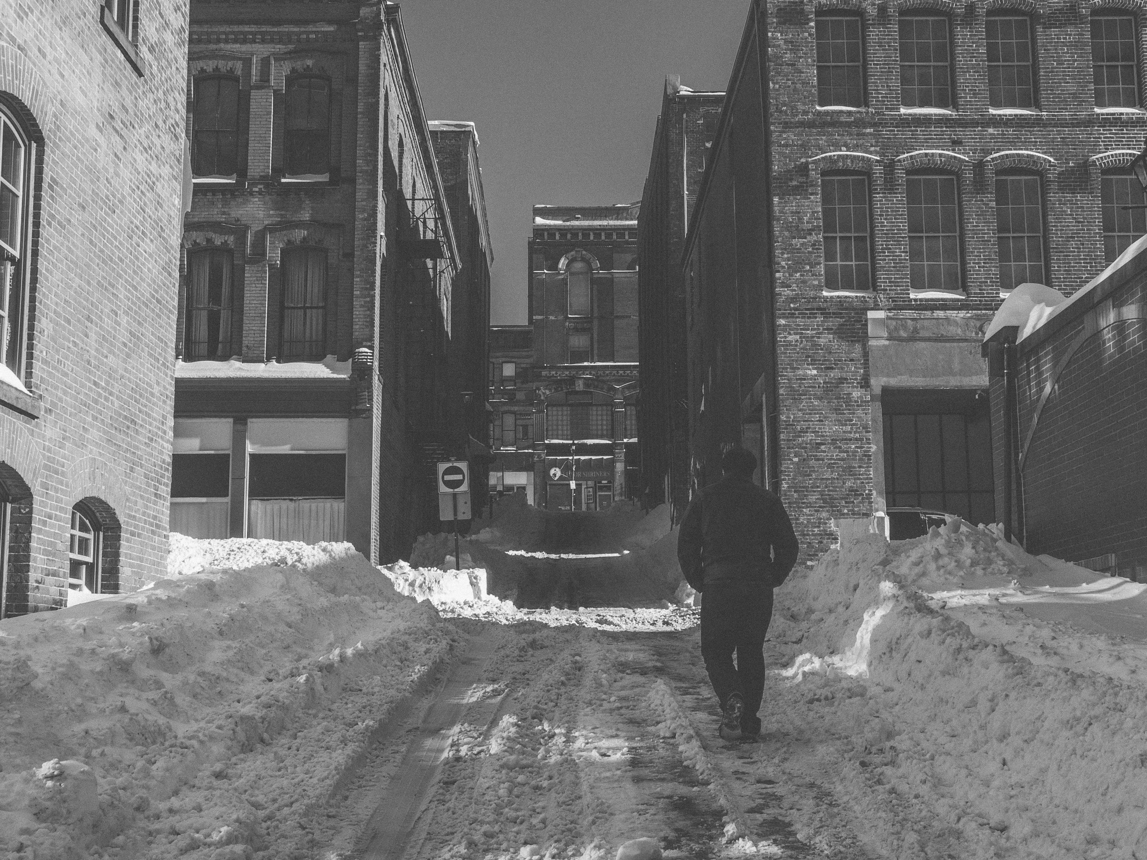 A photograph depicting Looking up Snowy Grannan Lane