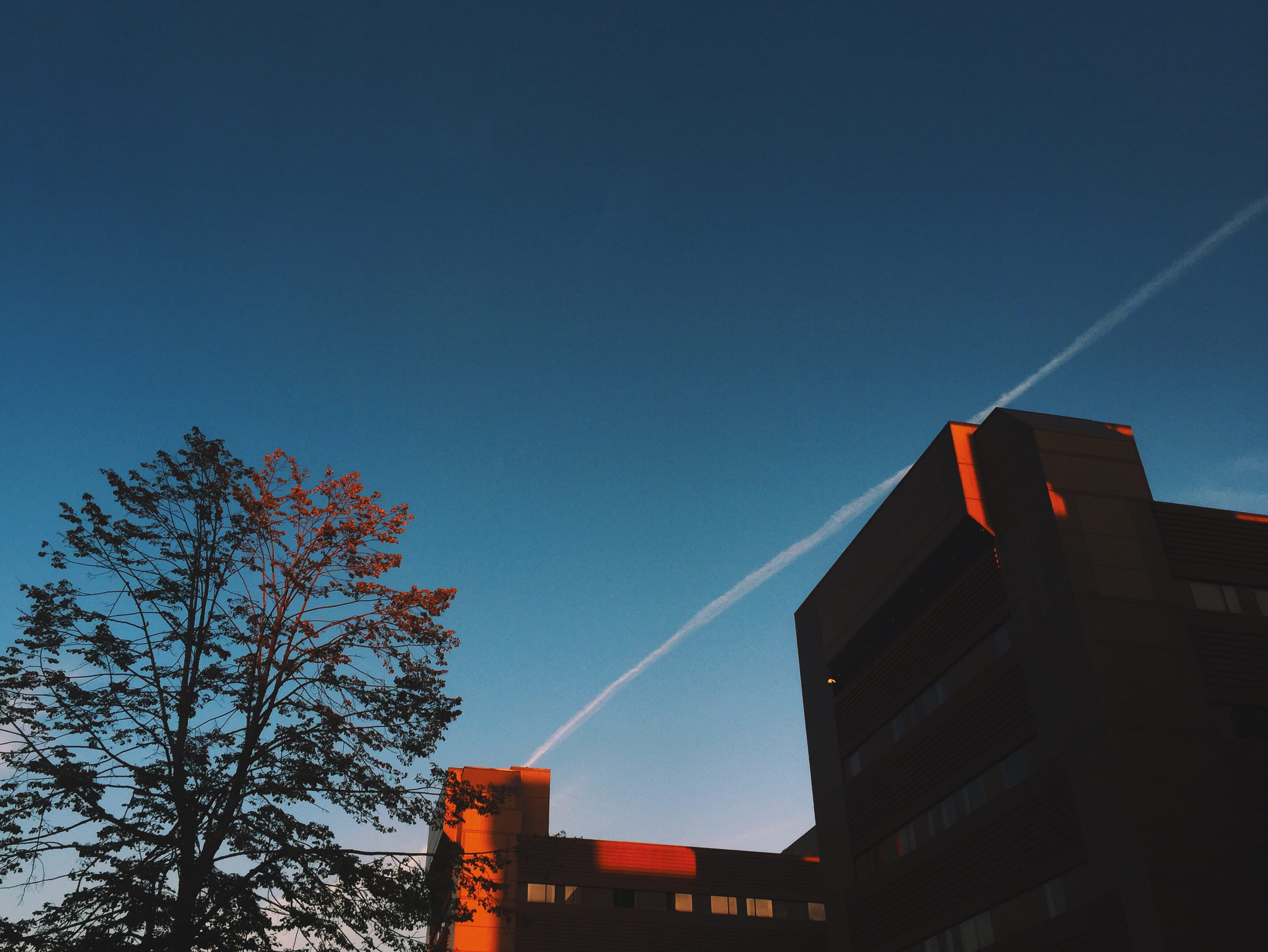 A photograph depicting Red Hospital Highlights at Dusk