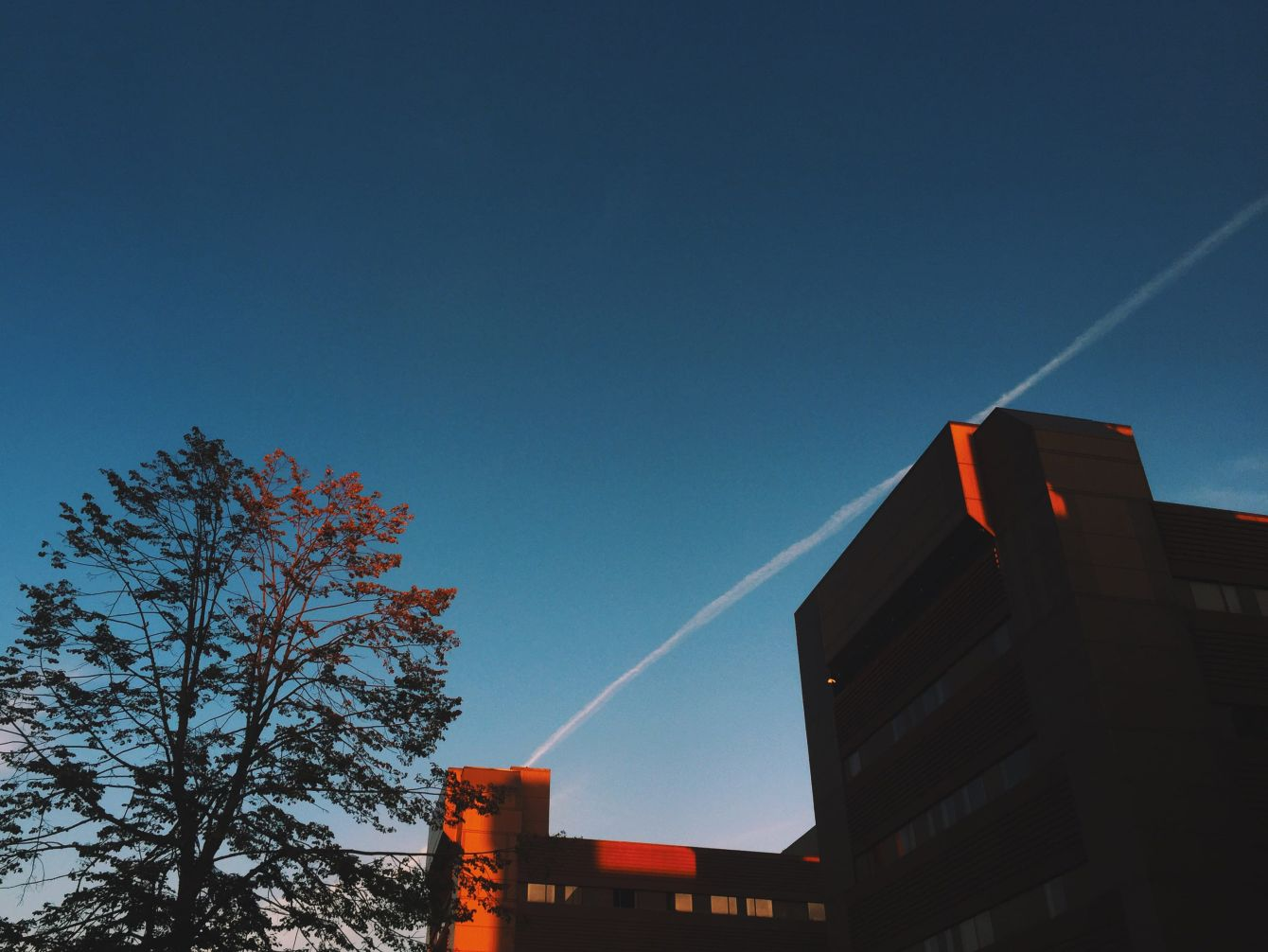 Click thumbnail to see details about photo - Red Hospital Highlights at Dusk Photograph