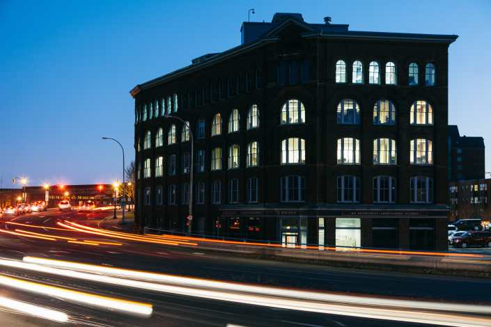 Red Rose Tea Building at Night in Saint John New Brunswick Photograph