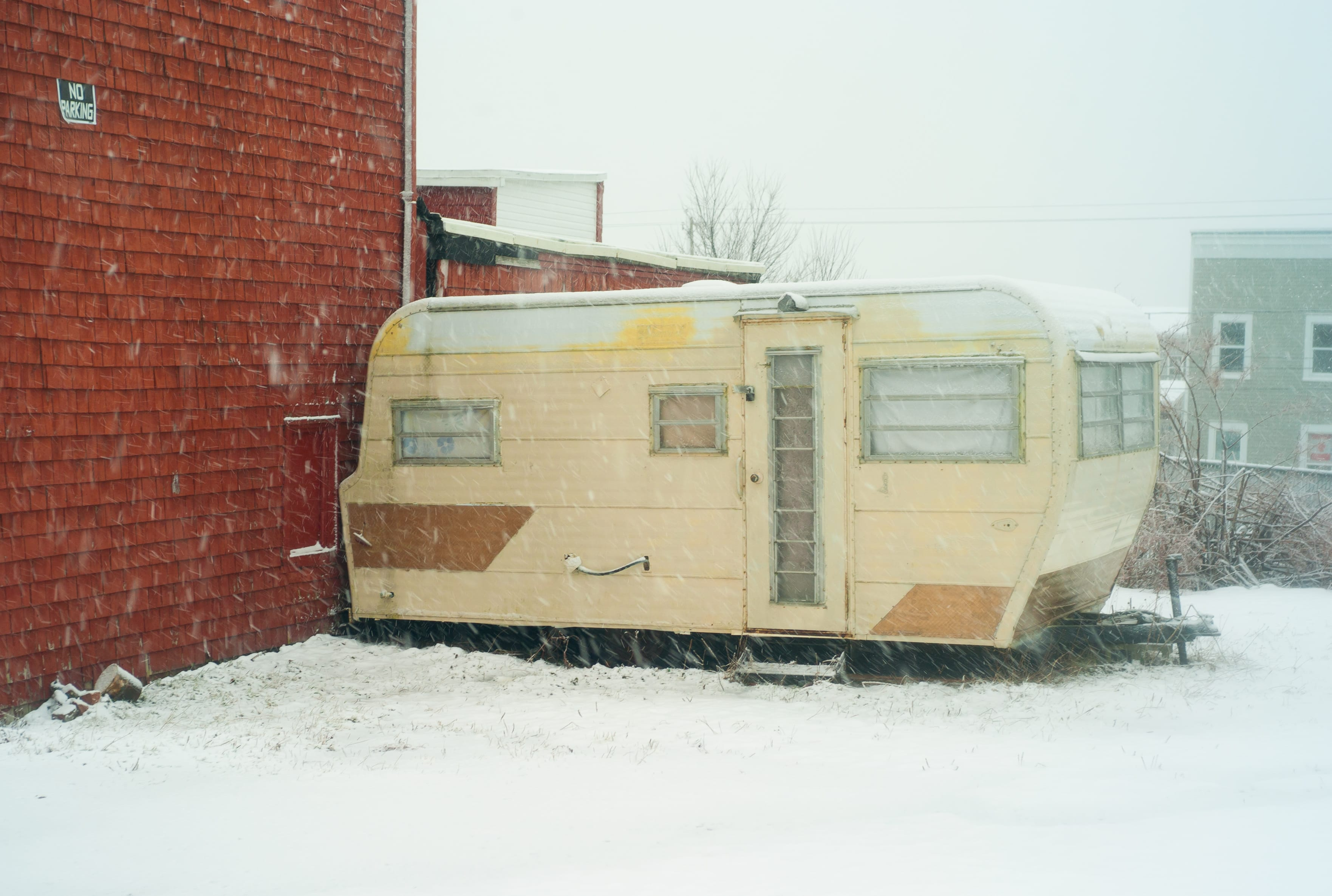 A photograph depicting Trailer in the Snow