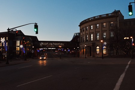 A photo of King Street Intersection at Night
