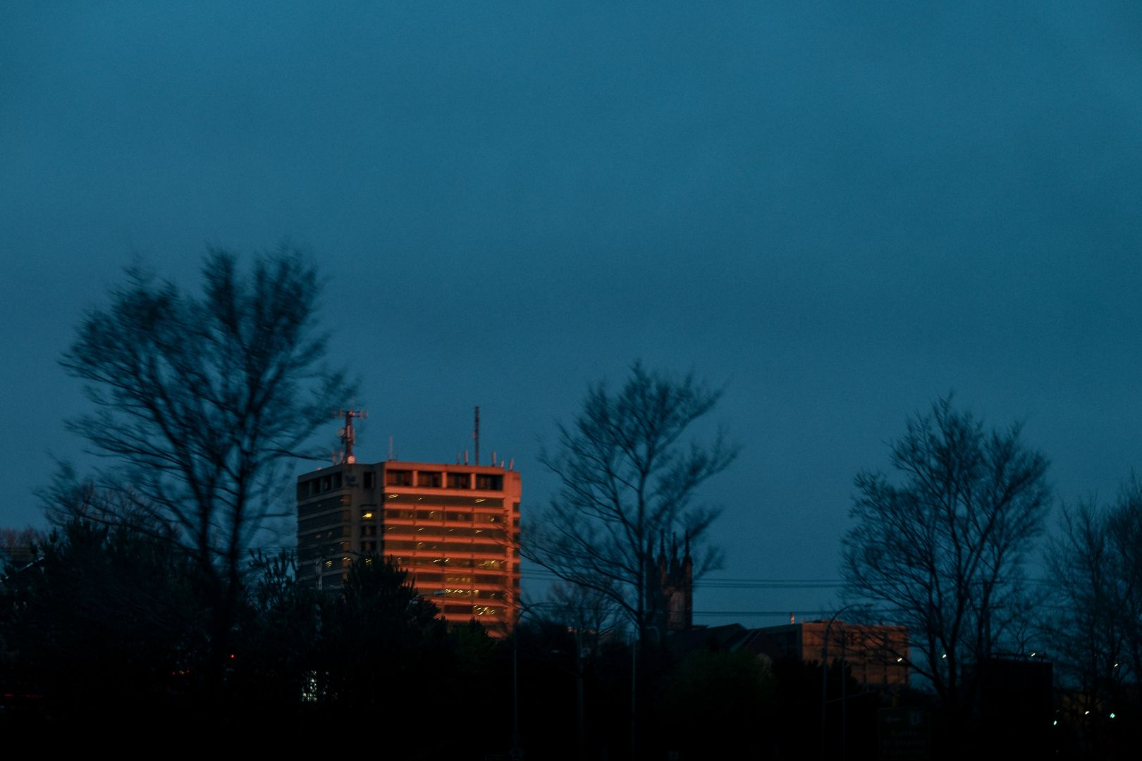 A photo of Bell Aliant Building Through Trees at Dusk