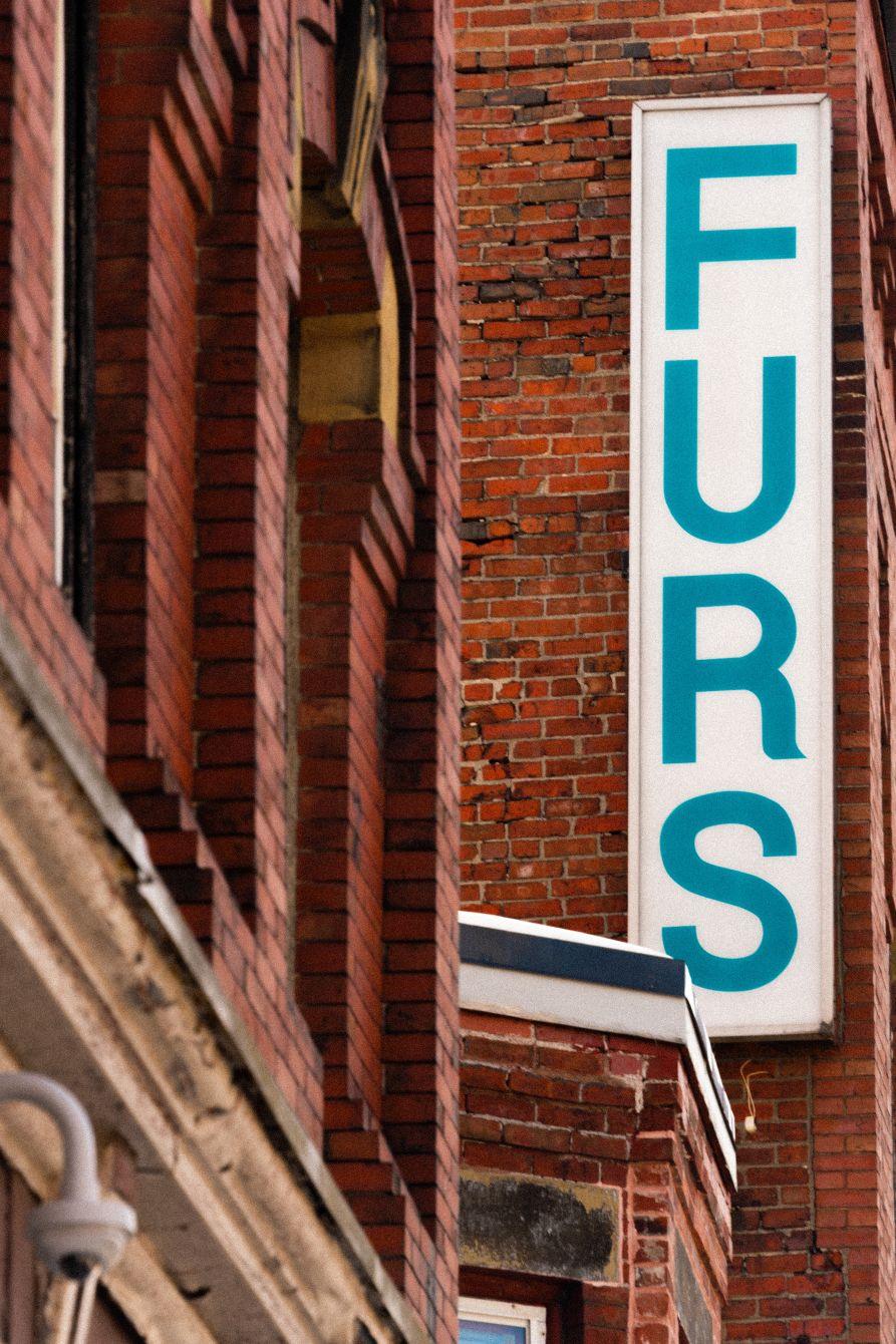 Click thumbnail to see details about photo - Furs Sign on Princess Street Saint John NB