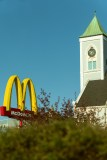 Mcdonalds and a Church Steeple