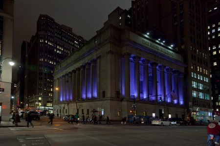 A photo of New York City The Haier Building At Night