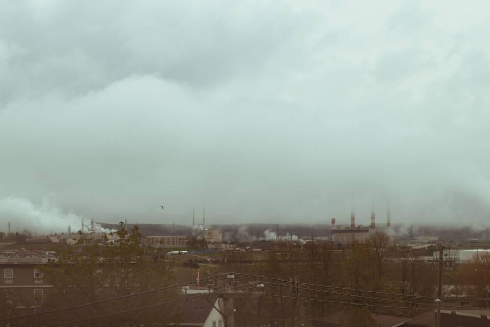 A photo of Smoke Filled Skyline Saint John Pollution