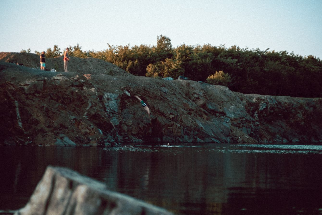 Click thumbnail to see details about photo - Man Diving At The Cuts New Brunswick