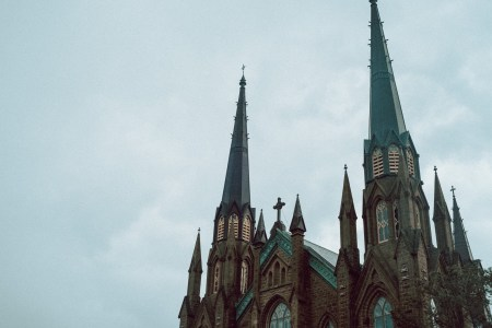 A photo of PEI Cathedral Steeples tight