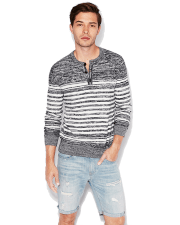 Express Striped Henley Sweater