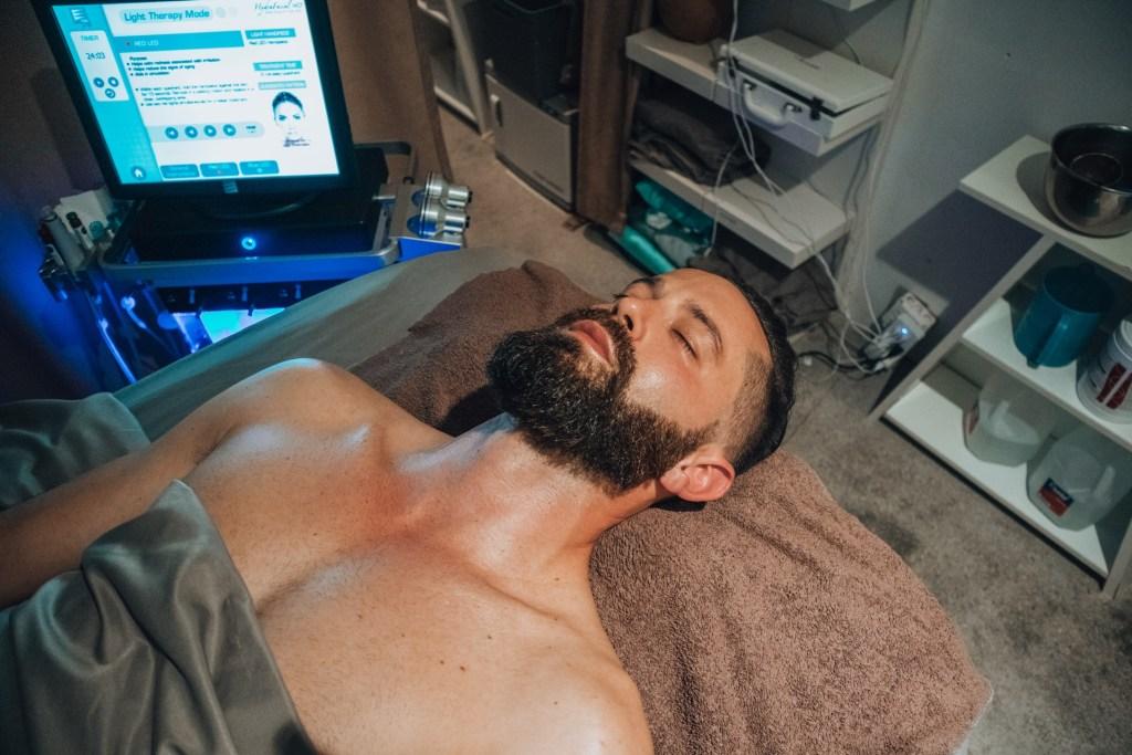 Michael Checkers getting a HydraFacial at Skin by Tatum