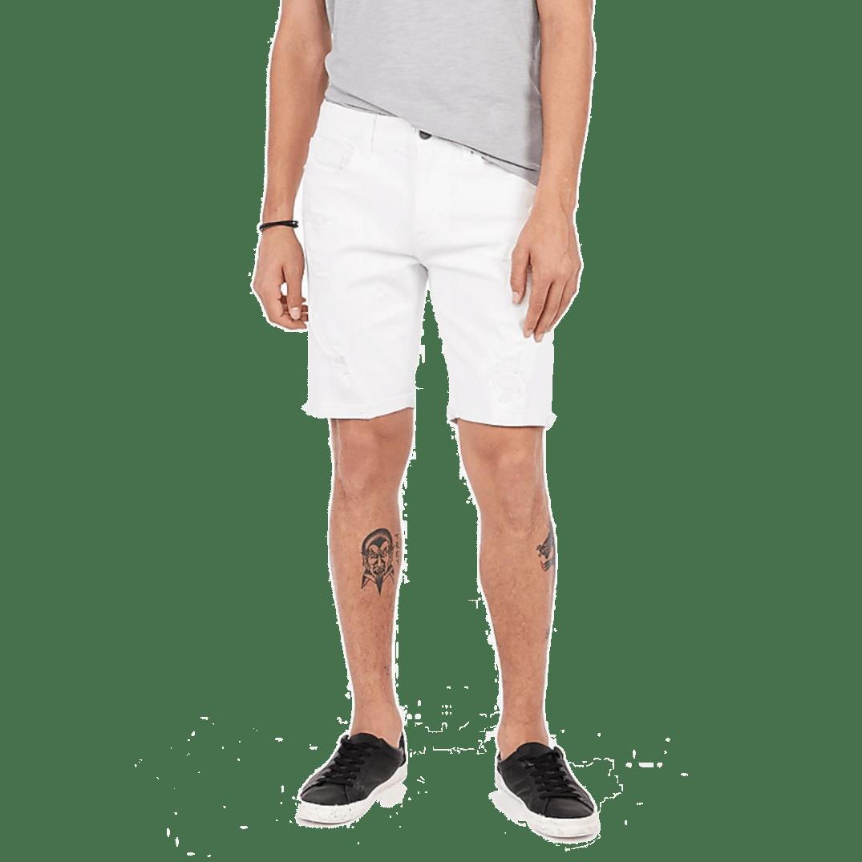 Express Slim 9 Inch White Stretch Distressed Denim Shorts